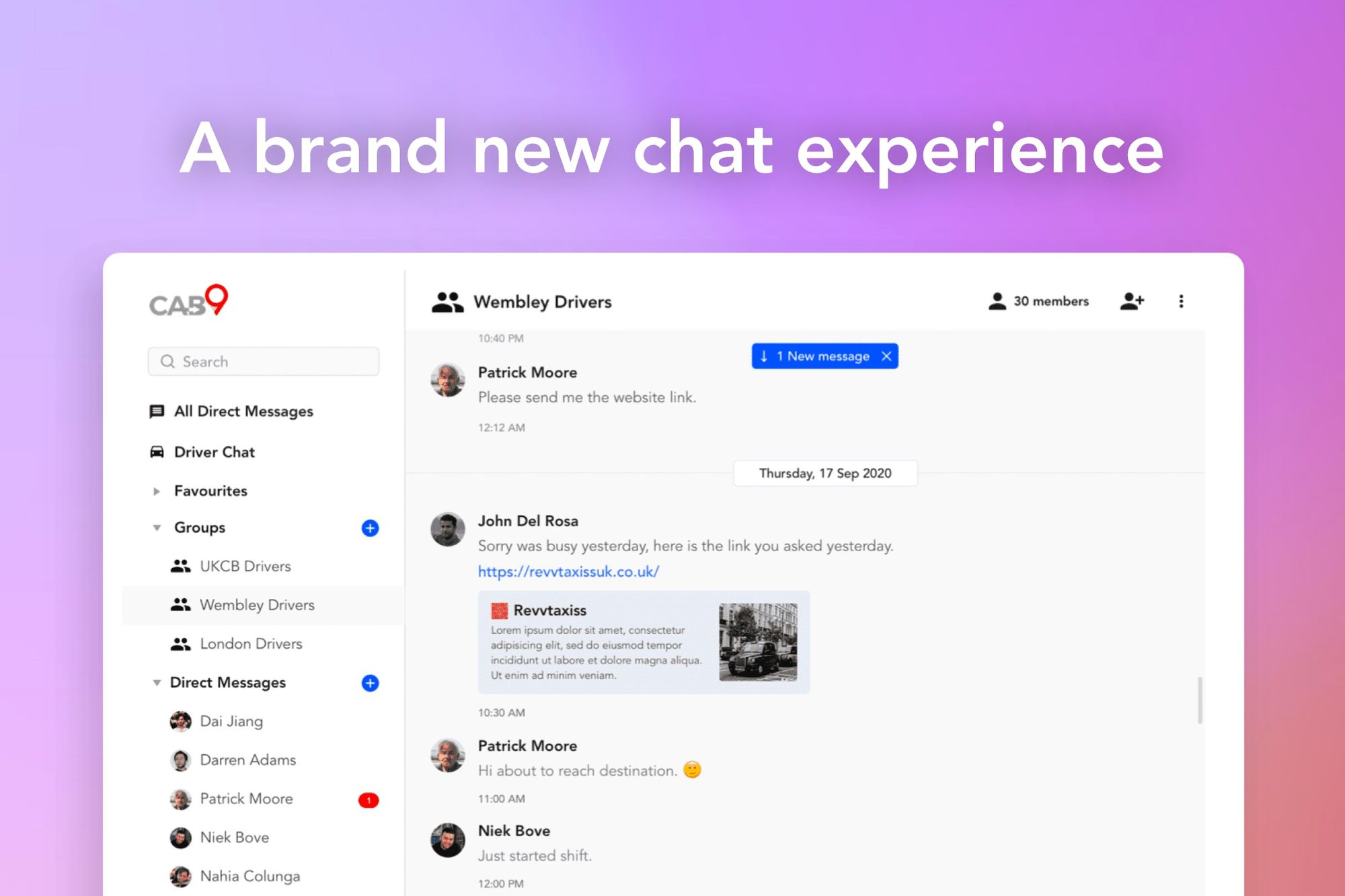 Cab9 Chat - New Communications Platform